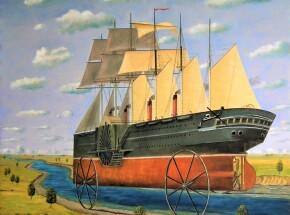 Statek ze srebrnymi kołami, 90 x 80 cm, 2021
